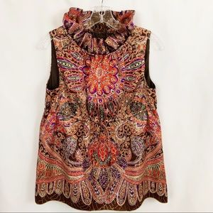 Anna Sui Silk & Metallic Abstract Floral Tank Top